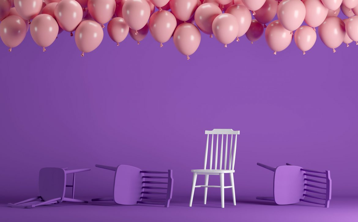 Outstanding,White,Chair,With,Floating,Pink,Balloons,In,Violet,Pastel
